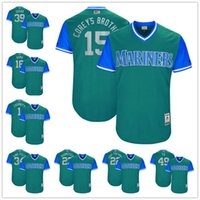 Wholesale Baseball Brother - Custom Seattle Mariners Nickname Jersey #15 Corey's Brother 22 Don't You Know 34 King Felix Sugar Aqua Green 2017 Little League World Series