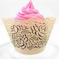 Wholesale Lace Cupcake Cases - Nude pink cupcake case wrapping lace hollow floral birthday party decoration muffin paper holder cupcake wrappers