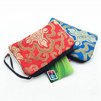 Wholesale Christmas Bell Crafts - Cute Small Bell Craft Zip Bags for Jewelry Pouch Gift Bags Decoratiing Chinese Silk Brocade Fashion Floral Coin Purse Bag Credit Card Holder