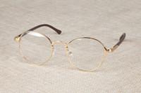 Wholesale Vintage Optic Glass - Vintage Retro 60s Eyeglass Frames Full-rim Eyewear Glasses Women Men Spectacles Clear lenses Optic RX Brand new hot sale Unisex Fashion Gold