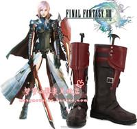 Wholesale Final Fantasy 13 Costumes - Wholesale-Lightning Returns: Final Fantasy XIII 13 Lightning Eclair Farron Cosplay Boots shoes shoe boot #NC225 anime Halloween Christmas