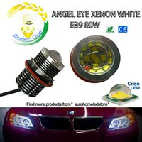 Wholesale Bmw Led Projector - With projector E39 80W per Bulb 160W KIT CREE Led Angel eyes for BMW 5 6 7 Series