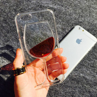 Estuche para iPhone 6 plus / 6S plus Hot Red Wine Glass Liquid Quicksand Funda transparente para teléfono Funda rígida