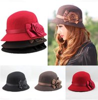 Wholesale Ladies Fashion Hats Small - New spring and Winter Elegant Women's Fashion Cap Ladies Flower Rose Bucket Hat Women Small Fedoras Hat Cloche Headwear 5 Colors