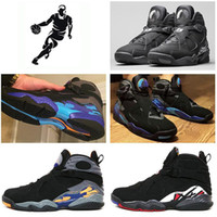 Wholesale Aqua Table - 2016 cheap air Retro 8 VIII Men Basketball Shoes Black White Aqua Men Athletic Sport Shoes Sneakers outdoor shoes Eur 41-47