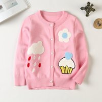 Wholesale Love Ice Cream - Children knitting cardigan girls flower Ice cream love heart applique coat kids pearl single breasted outwear Valentine's day clothing R1276