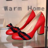 Wholesale Shoes Chunky Heels - New 2017 Women Bowtie High Heel Shoes European Brand Designer Chunky Shoes Genuine Leather Comfortable Footwear Ladies Luxury Pumps P17