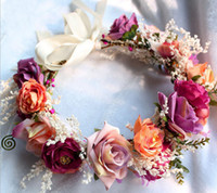 Wholesale Rose Hair Garland - Brides wreath bohemia style children beach holiday hair accessories girls handmade stereo rose simulation flowers garlands R1019