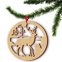 Wholesale Dresses Ornaments - Christmas Props Ornament Christmas Tree hanging decor goods Elk wood Reindeer Decorations Home Festival holiday party dresses, 5 pc per bag