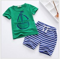 Wholesale Girls Navy Stripe Suits - New 2016 Boys Girls Navy Style Summer Clothing Sets Children Short Sleeve T-shirt Tops+Stripe Pants 2pcs Set Kids Suit Baby Boy Girl Outfits