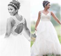 Wholesale Open Back Crystal Wedding Dress - White Ball Gown Wedding Dress Tulle Beading Crystal Straps Keyhole Open Back Corset Bridal Gowns Simple Ruffles Skirt 2016 Custom Made