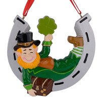 Wholesale Resin Craft Souvenir - Maxora Irish Elf Resin Hanging Christmas Ornaments With Personalized Glossy Horseshoe As Craft Souvenir for Gifts or Home Decor