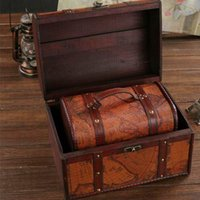Wholesale wooden case locks for sale - Group buy 3pcs set Chic Wooden Pirate Jewellery Storage Box Case Holder Vintage Treasure Chest Decor Boxes Case With Lock ZA4994