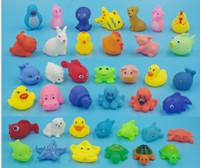 Wholesale Starfish Cartoon - 50 style EMS Baby Bath Toys Water Floating Dolls Animal Cartoon Yellow Ducks Starfish Children Swiming Beach Rubber Toy Kids Gifts I4313