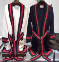 Wholesale Cotton Garter Belt - 2017 New Autumn Winter Women Knitwear Europe Contrast Color Stripe Tie Loose Retro Slim Long Knit Sweater Outwear Cardigan Bathrobes