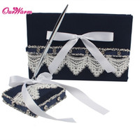 Wholesale Pen Set For Wedding - Wedding Guest Book and Pen Set with Lace Ribbon Bowknot Navy Pen Stand Holder Guest Signature Book for Wedding Supplies <$16 no tracking