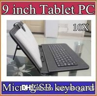 10X cores Micro USB Keyboard Leather Case para 9 polegadas Android Tablet pc Folding Leather Protector Case B-JP