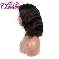 insan vücudu dalgası dolu peruk toptan satış-Choshim Vücut Dalga Tam Dantel İnsan Saç Kısa Bob Peruk 8