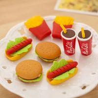 Wholesale Erase Rubber - Cute Kawaii Hamburger Food Drink Cola Rubber Eraser Set School Office Erase Supplies Kids Gifts