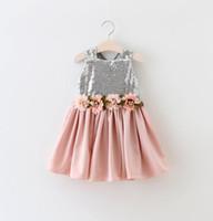 Wholesale Premium V Neck - Princess Grils 3 Floral Sequin Dress 2016 Kids V neck back glittering tule Party dresses Premium Quality Size 90-130