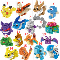 Wholesale Poke go Pikachu DIY LNO Building Blocks style DHL gengar Lapras Charmander Bulbasaur Jeni turtle Diamond Brick Toys B001