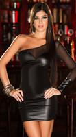 vestido preto revelador venda por atacado-Mulheres por atacado Sexy Respirável Manga Fio Net Revelar Voltar Imitação De Couro Vestido Vermelho Cor Preta Frete Grátis