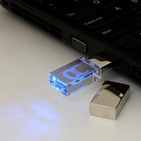 Wholesale Drive 128 - China USB Flash Drive 4GB 8GB 16GB USB 2.0 Memory Stick LED Waterproof Thumb Drive Crystal Transparent & Blue