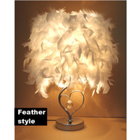 Wholesale Warm Bedside Light - Bedside reading room foyer sitting room living Classical heart shape white feather crystal table lamp light