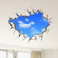 Wholesale Removable Wall Stickers 3d - Free Shipping Landscape Blue Sky White Cloud 3D Wall Sticker Creative Home Decal For House Living Room Roof Sticker Wall Decal
