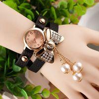 Wholesale women bow watches resale online - Bow Pearl Pendant Bracelet Watch Retro Women Quartz Wristwatch Lady Watch Relogio Feminino Orologi Donna Reloj Mujer