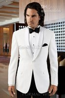 Wholesale Wedding Suits Pants Price - Wholesale- 2016- Wholesale price!!! White Groom Tuxedos Groomsmen Men Wedding Suits Bridegroom (Jacket+Pants+Girdle+Tie) OK:746