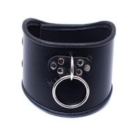 Wholesale female sex dog collar resale online - 520 mm Choker Black Leather Collar With Pull Ring Adjustable Belt Slave Dog Fetish Bondage BDSM Neck Strap Sex Product