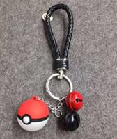 asche poke großhandel-Pocket Monster Poke Ball Anime Schlüsselanhänger Keyring Anhänger Unisex Esche Ketchum Schlüsselanhänger, Mit der Glocke