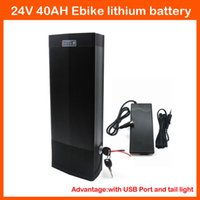 Wholesale 24v Electric Bikes Battery - 700W High Power 24V Electric Bike Lithium Battery 24V 40AH Use samsung 3000mah cells With BMS USB Port and Tail Light 29.4V 3A charger