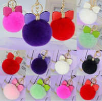 Wholesale Wholesale Keychain Bows - Fur Pom Pom Bow Keychain Women PomPom Plush Key Ring Rhinestone Faux Rex Rabbit Fur Ball Key Chain 18 Colors OOA2580