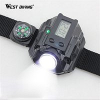 Wholesale Sport Climbing Compass Watch - Sports Wrist Light With Watch And Compass Portable Mountain Bicycle Night Riding Running Climbing Lamp MTB Cycling Arm Lights