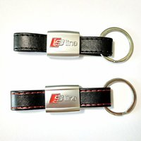 Wholesale Leather Key Chain Car Logo - PU Leather Car Keychain Key Chains Rings Fob Fits for Audi Car Sline RS Logo Keyring A3 A4 A5 A6 A8 TT RS Q5 Q7Carstyling