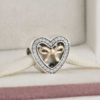 Wholesale Bracelet Binding - Two Tone Bound By Love Charms Beads Authentic 925 Sterling Silver CZ Bow Heart Bead DIY Mother Day Gifts Bracelets Accessories HB618
