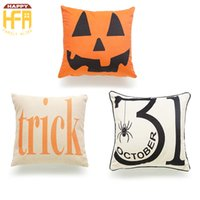 Wholesale Decorative Cushions Pillow Cover Case - 45*45Cm Halloween Cushion Cover Cushion Case Cotton Linen Square Burlap Decorative Pillow Case Cushions Cover Halloween Trick Pumpkin