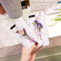 Wholesale plastic expansion - Flower Design TPU IMD Back Cover with Expansion Stand 6 6s 7 Plus Mobile Shell Marble for iPhone 6 6 Plus 7 7 Plus Case
