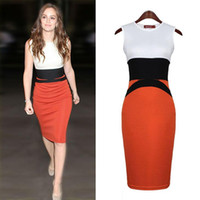 Wholesale Dress For Celebs - New products Fashion dresses for womens celeb party wear splicing color ladies red pencil evening slimming sexy bodycon dress New2016