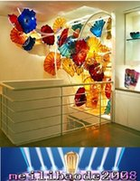 Wholesale Cheap Chihuly - 2016 NEW Hand Blown Glass CE UL Certificate Chihuly Borosilicate Glass Art Cheap Wedding Decorative Glass Plate Wall Art MYY