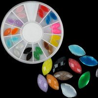 Wholesale Diy Nail Jewelry Accessories - Mix Fluorescent Color Rhinestones Acrylic 3D Nail Decoration Nail Wheel Jewelry Box 24pcs DIY Nailart Charm Accessories