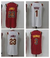 Wholesale Basketball James Jerseys - 3 Isaiah Thomas 1 Derrick Rose 23 LeBron James Men Jerseys 2018 New arrival Red White Thomas Basketball Jersey