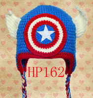 Wholesale Boys Toddler Cowboy Hat - Free Shipping Captain America First Avenger Iron Man Superhero Movie Crochet Knitted Hat Winter Infant Toddler Cap Children Beanie Cotton