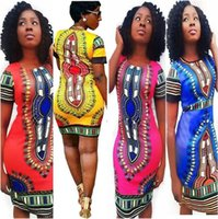 Wholesale Sexy Short Tight Mini Dresses - Sexy tight national classical Print dress traditional African Print Dashiki Bodycon Dress Sexy Short Sleeve Slim Dress Plus Size Vestidos