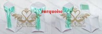 Wholesale Turquoise Satin Chair Sashes Wholesale - 200pcs Total Turquoise Color Satin Chair Sash \ Chair Bow For Used For Wedding Chair Cover