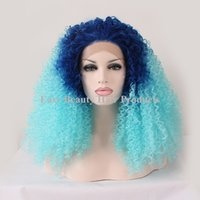 Дешевые Afro Kinky Curly Synthetic Hair Lace Front Wigs для афроамериканца Cosplay Heat Resistant Two Tone Ombre Кружевной парик для черных женщин