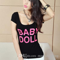 Wholesale Baby Doll Short Sexy - Summer new sexy bodycon tunic short sleeve t-shirt letter print BABY DOLL plus size cotton tees tops