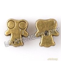 Wholesale Bronze Loose Beads - Antique Bronze Loose beads 150pcs lot New Arrival Cute Cartoon Person Alloy Spacer beads fit Necklace 161433